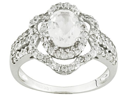 1.25ct Oval Danburite With 1.20ctw Round White Zircon 14k White Gold Ring - Size 7