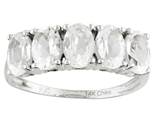 Photo of 2.50ctw Oval Danburite 14k White Gold 5-Stone Ring - Size 7