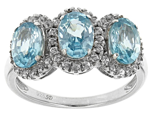 Photo of 3.30ctw Oval Blue Zircon With .50ctw Round White Zircon Sterling Silver 3-Stone Ring - Size 10