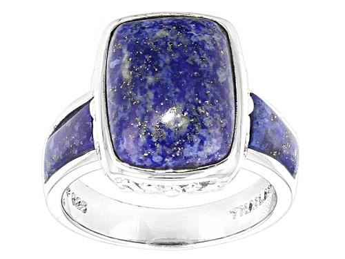 Photo of Rectangular Cushion Cabochon Lapis Sterling Silver Ring - Size 5