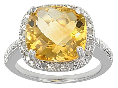 Photo of 5.60ct Square Cushion Citrine With .10ctw Round White Diamonds Sterling Silver Ring - Size 12