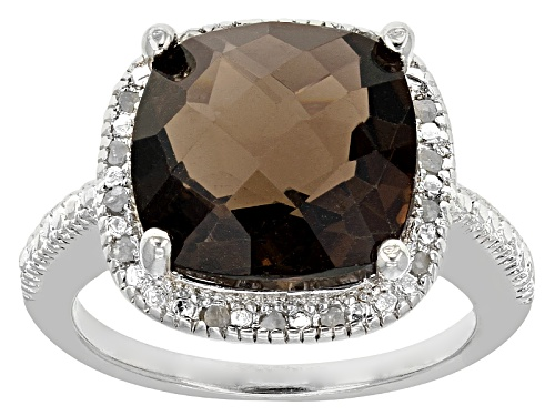 Photo of 6.00ct Square Cushion Smoky Quartz With .10ctw Round White Diamonds Sterling Silver Ring - Size 12