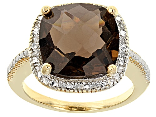 Photo of 6.00ct Square Cushion Smoky Quartz With .10ctw Round White Diamonds 18k Yellow Gold Over Silver Ring - Size 8