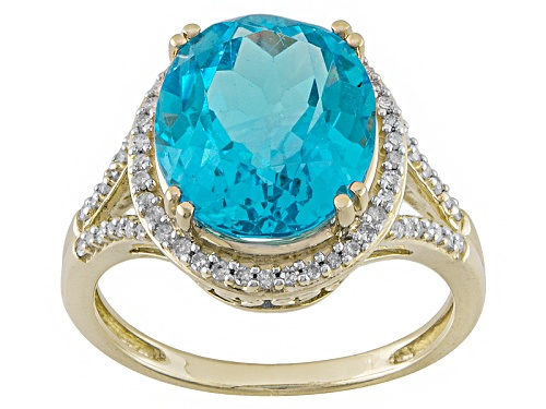 Photo of 5.40ct Oval Swiss Blue Topaz With .20ctw Round White Diamonds 10k Yellow Gold Ring - Size 12