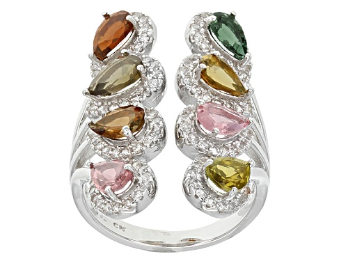 Photo of 2.86ctw Pear Shape Multi Tourmaline And 1.25ctw White Zircon Sterling Silver Ring. - Size 5