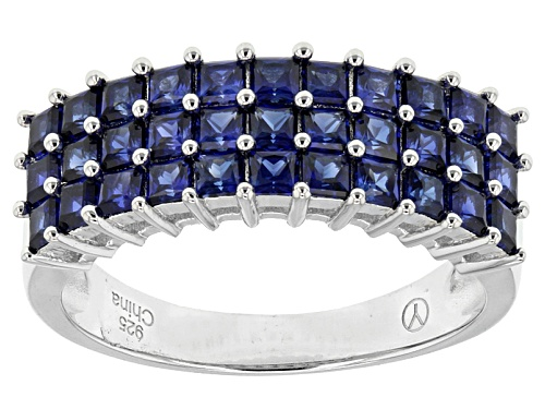Photo of 1.85ctw Square Lab Created Blue Sapphire Sterling Silver Band Ring. - Size 5