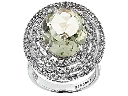 Photo of 7.15ct Oval Prasiolite With 2.50ctw Round White Zircon Sterling Silver Ring - Size 5