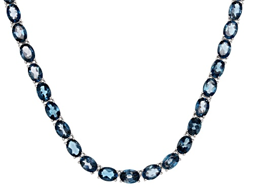 Photo of 58.00ctw Oval London Blue Topaz Sterling Silver Necklace - Size 18