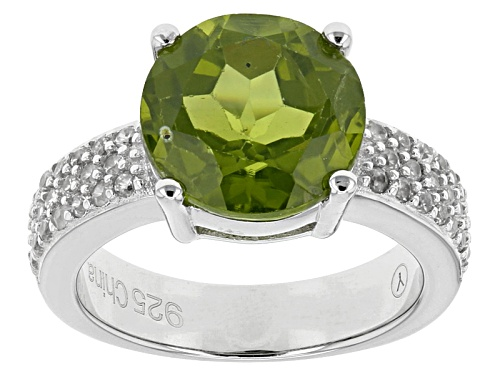 Photo of 3.75ct Round Manchurian Peridot™ With .70ctw Round White Zircon Sterling Silver Ring - Size 12