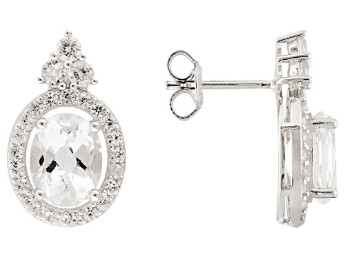 Photo of 3.25ctw Oval Danburite With .75ctw Round White Zircon Sterling Silver Earrings