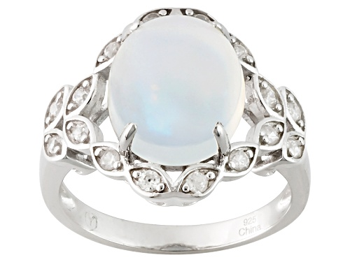 Photo of 2.50ct Oval Cabochon Ethiopian Opal And .40ctw Round White Zircon Sterling Silver Ring - Size 12