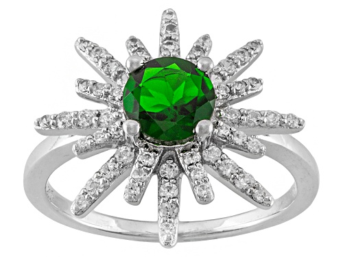 Photo of .85ct Round Chrome Diopside And .50ctw Round White Zircon Rhodium Over Sterling Silver Ring - Size 9