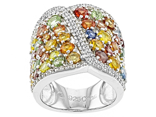 Photo of 4.35ctw Round Multi-Sapphire And .65ctw Round White Zircon Sterling Silver Ring - Size 5