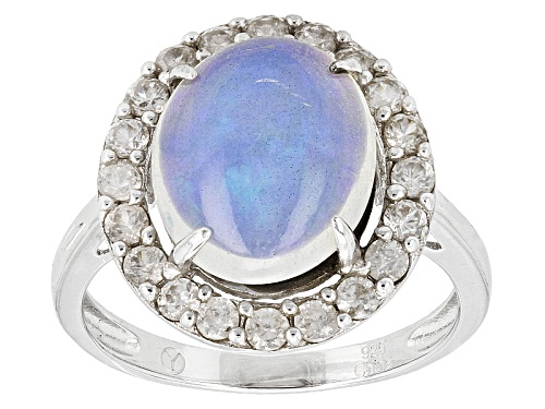 2.50ctw Oval Cabochon Ethiopian Opal And .80ctw Round White Zircon Sterling Silver Ring - Size 5