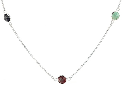 Photo of 3.90ctw Round Emerald And 4.80ctw Round Sapphire With 6.50ctw Round Ruby Sterling Silver Necklace - Size 36