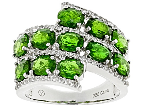 Photo of 5.75ctw Oval Russian Chrome Diopside And .48ctw Round White Zircon Sterling Silver Ring - Size 6