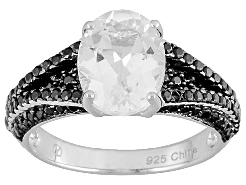 Photo of 1.85ct Oval Danburite And 1.00ctw Round Black Spinel Sterling Silver Ring - Size 7