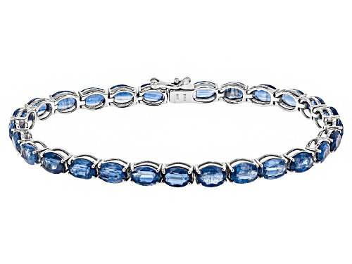 Photo of 27.00ctw Oval Kyanite Rhodium Over Sterling Silver Tennis Bracelet - Size 8