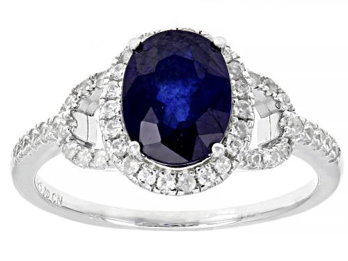 Photo of 2.25ct Oval Mahaleo® Blue Sapphire And .37ctw Round White Zircon Sterling Silver Ring - Size 11