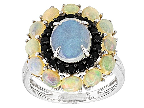 Photo of 2.80ctw Oval Cabochon Ethiopian Opal And .35ctw Round Black Spinel Sterling Silver Ring - Size 11