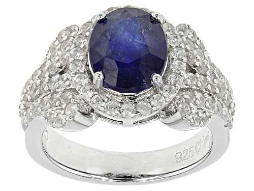 Photo of 3.10ct Oval Mahaleo® Blue Sapphire And 1.80ctw Round White Zircon Sterling Silver Ring - Size 10
