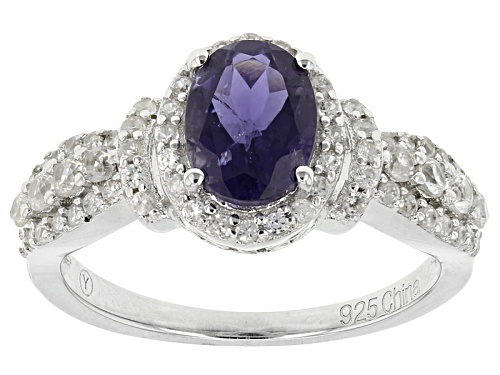 Photo of 1.02ct Oval Iolite And 1.04ctw Round White Zircon Sterling Silver Ring - Size 12