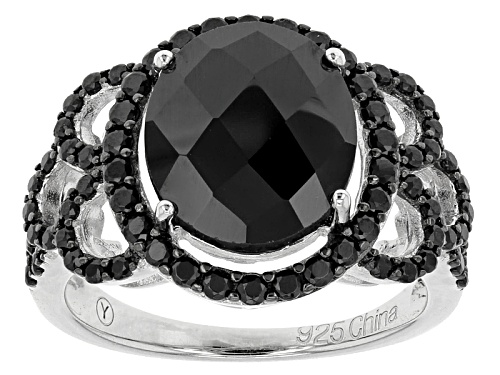 Photo of 6.50ctw Oval And Round Black Spinel Sterling Silver Ring - Size 5