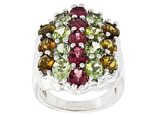 Photo of 5.70ctw Oval Green, Brown And Pink Tourmaline Sterling Silver Ring - Size 6