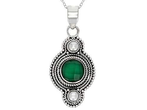 Photo of 3.00ct Round Green Onyx And Cultured Fresh Water Pearl Sterling Silver Pendant With Chain