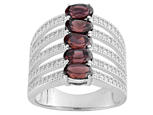 Photo of 2.75ctw Oval Red Zircon And .70ctw Round White Zircon Sterling Silver Ring - Size 5