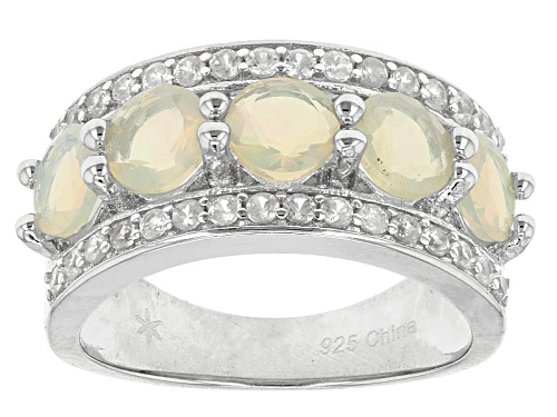 1.50ctw Round Ethiopian Opal And .72ctw Round White Zircon Sterling Silver 5-Stone Ring - Size 12