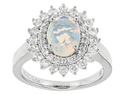 Photo of .95ct Oval Ethiopian Opal And 1.85ctw Round White Zircon Sterling Silver Ring - Size 12