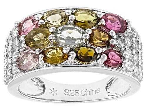 Photo of 1.85ctw Oval Multi Tourmaline And .75ctw Round White Zircon Sterling Silver Ring - Size 5