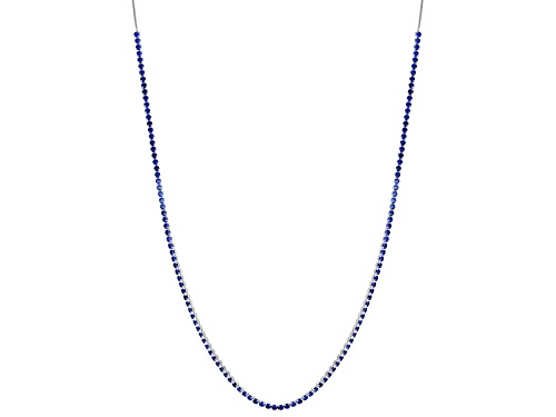 Photo of 12.30ctw Round Lab Created Blue Spinel Adjustable Sterling Silver Necklace