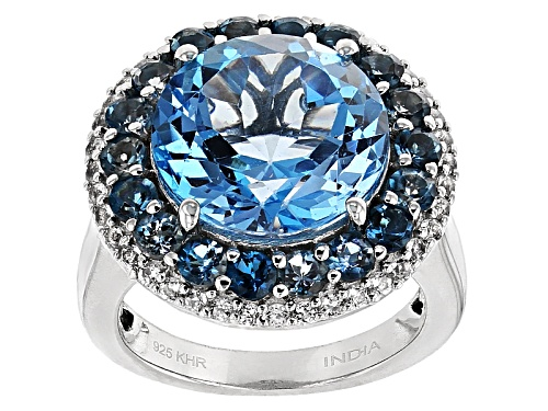 Photo of 8.31ct Round Swiss Blue And 1.56ctw Round London Blue Topaz With .46ctw White Topaz  Silver Ring - Size 5