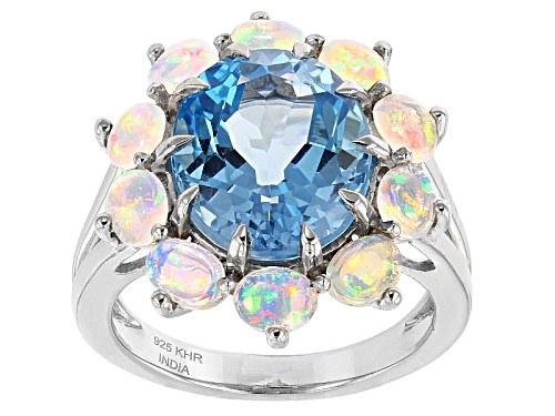 Photo of 5.84ct Oval Swiss Blue Topaz And 1.09ctw Oval Cabochon Ethiopian Opal Sterling Silver Ring - Size 5