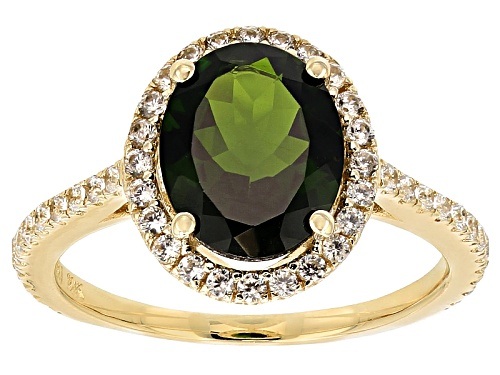 Photo of Chrome Diopside 2.75ctw With White Zircon .33ctw 10k Yellow Gold Ring - Size 7
