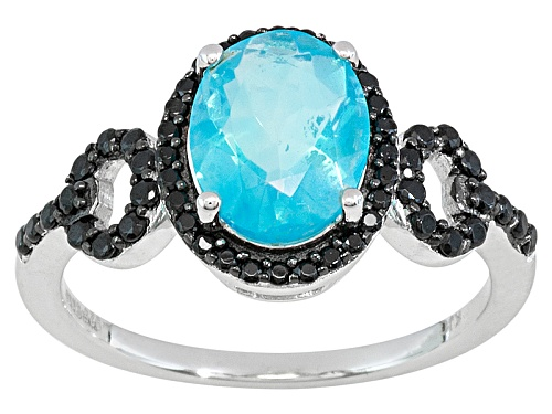 Photo of Blue Ethiopian Opal .95ct With Black Spinel .30ctw Sterling Silver Ring - Size 12