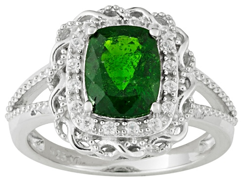 Photo of 2.11ct Cushion Chrome Diopside With .25ctw Round White Zircon Sterling Silver Ring - Size 5