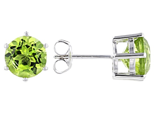 Photo of 3.66ctw Round Manchurian Peridot(TM) Rhodium Over Sterling Silver Stud Earrings