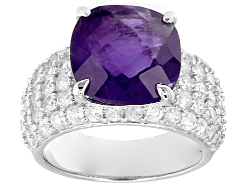 Photo of 6.00ct Square Cushion African Amethyst With 3.10ctw Round White Zircon Sterling Silver Ring - Size 12