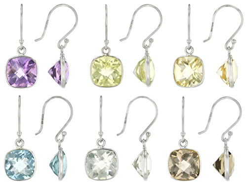 Photo of 31.00ctw Blue Topaz,Amethyst,Prasiolite,Citrine,Smoky & Canary Yellow Quartz Silver Set Of 6 Earring