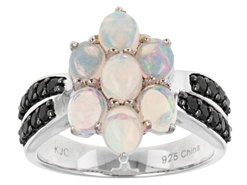 Photo of 1.50ctw Oval Ethiopian Opal With .52ctw Round Black Spinel Sterling Silver Ring - Size 12