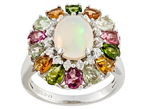 Photo of 1.13ct Ethiopian Opal With 2.12ctw Multicolor Tourmaline And .33ctw White Zircon Silver Ring - Size 12