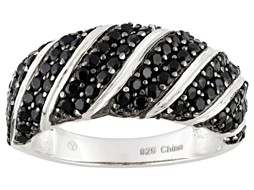 Photo of 2.00ctw Round Black Spinel Rhodium Over Sterling Silver Ring - Size 7