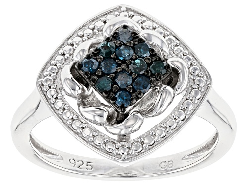 Photo of 0.25ctw Round Blue Diamond Rhodium Over Sterling Silver Ring - Size 8