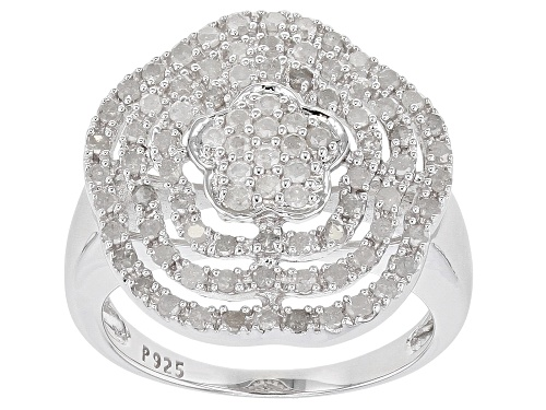Photo of 0.85ctw Round White Diamond Rhodium Over Sterling Silver Ring - Size 7