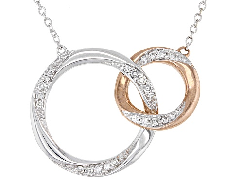 Photo of 0.17ctw Round White Diamond 10K White & Rose Gold Convertible Interlocking Circle Necklace - Size 18