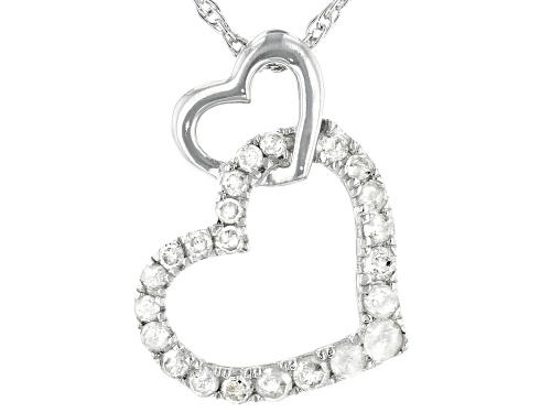 Photo of 0.20ctw Round White Diamond Rhodium Over Sterling Silver Heart Pendant With 18 Inch Rope Chain