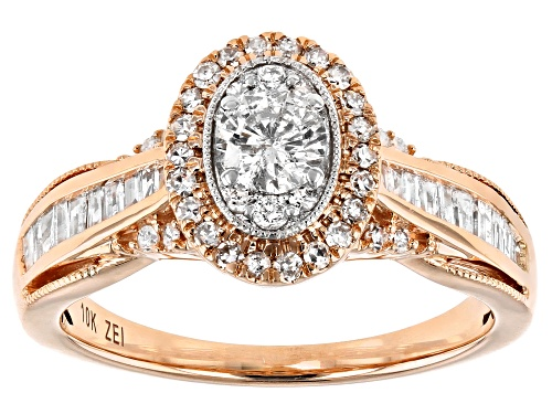Photo of 0.75ctw Round And Baguette White Diamond 10K Rose Gold Promise Ring - Size 7